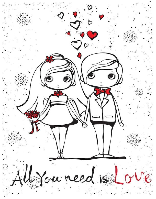 Vector illustration of wedding couple for invitation, greeting card design, t-shirt print, inspiration poster.