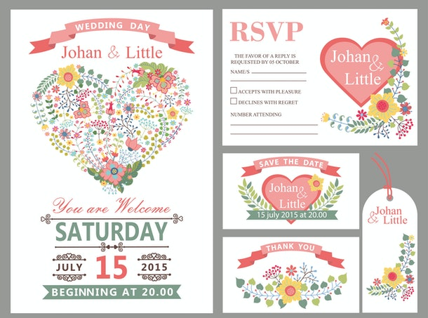 Wedding design template set with flowers,pink hearts,frame,ribbon,border in Retro style .For Wedding  invitation,thank you,save date,tag,RSVP card.Vintage vector,floral decor.