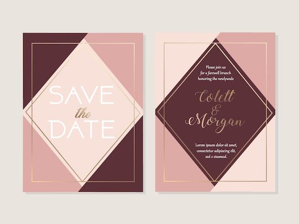 Wedding invitation card template, save the date card template, geometric pattern