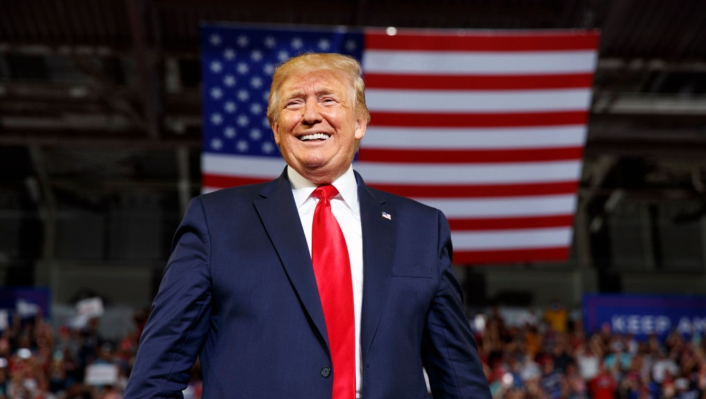 President Donald Trump arrives to speaks at a campaign rally at Williams Arena in Greenville, N.C