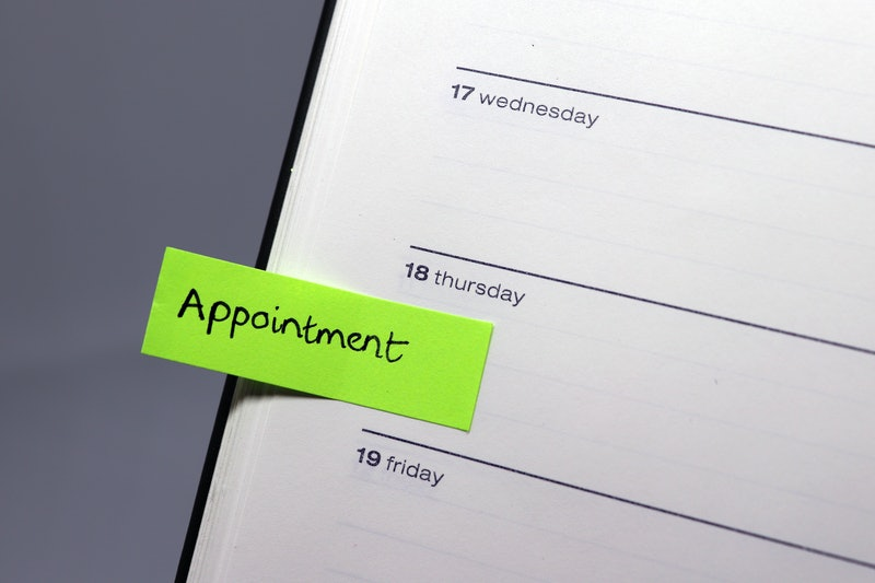 Appointment Reminder Tab in Diary (Isolated on Grey Background)