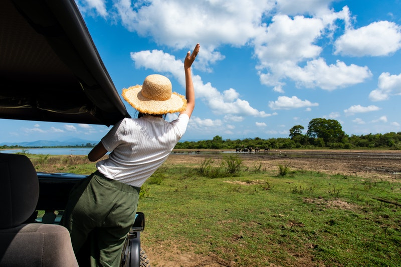 Woman enjoying the view from the safari truck