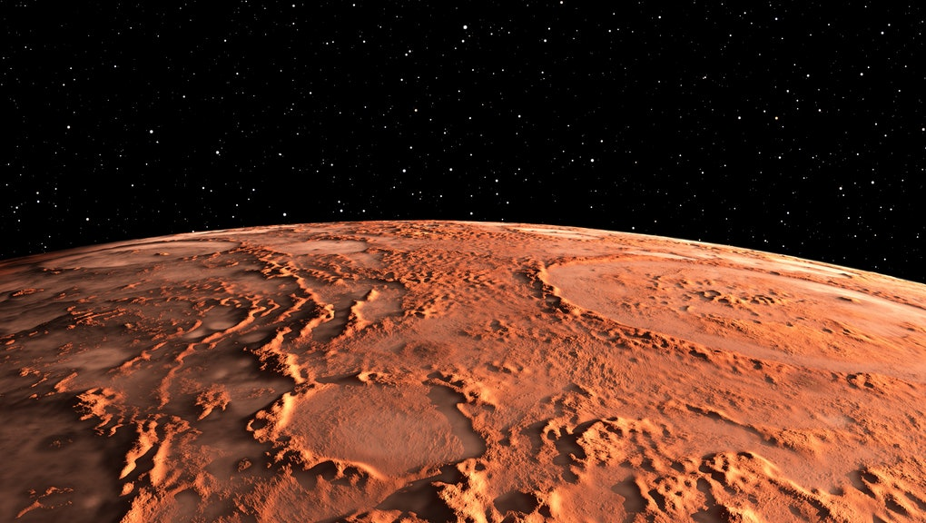 Mars - the red planet. Martian surface and dust in the atmosphere. 3D illustration