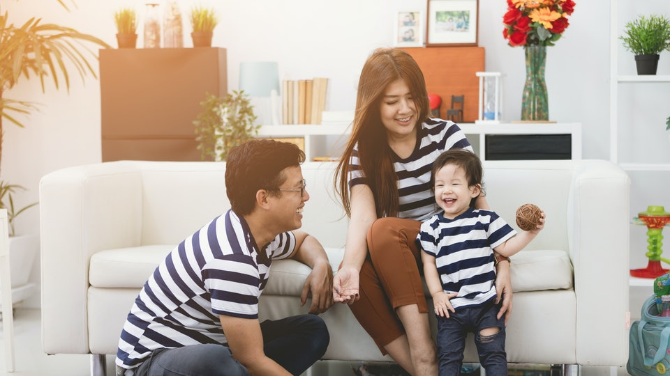 Happy asian family father and mother enjoying with child, Family lifestyle at home