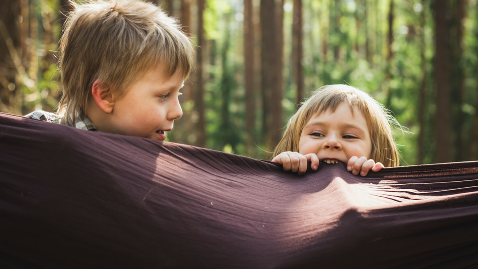 happy children relaxing in hammock outdoors green summer forest background. Little kids having fun playing outside in woods. Holidays vacation freedom happy childhood