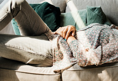 Young woman lying on the couch