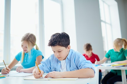 Portrait of group of diligent pupils drawing at lesson