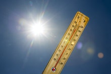 Mercury thermometer marking 39 degrees Celsius 100 Fahrenheit in a sunny day. Summer heat shown on m...