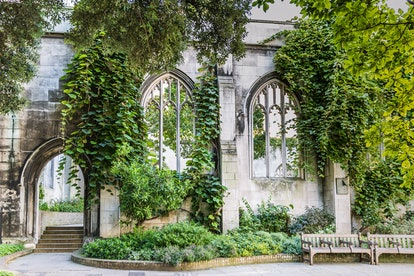 London England UK 8 August 2016: St Dunstan ancient site - burned down at the great fire  1666, rebuilt and destroyed 1941 -  used today as a park