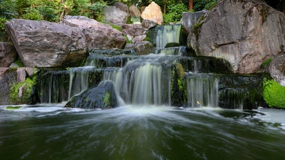 A waterfall. Location: Europe, England, London, Holland Park - Kyoto Garden