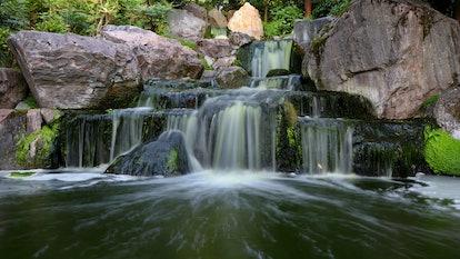 A waterfall. Location: Europe, England, London, Holland Park - Kyoto Garden