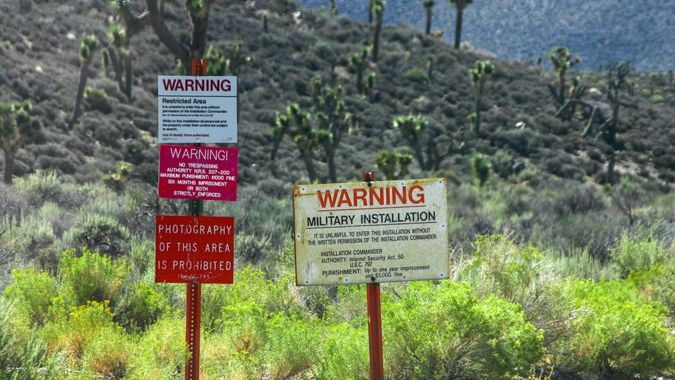 The warning signs at the entrance to Groom Lake, also known as Area 51.