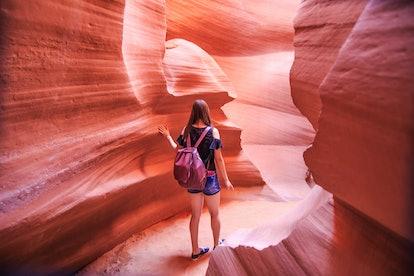 Lower Antelope Canyon Arizona Woman on the path mountain desert female girl outdoor adventurer