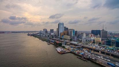 Aerial view of Lagos Island with Lagos Marina