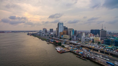 Aerial view of Lagos Island with Lagos Marina