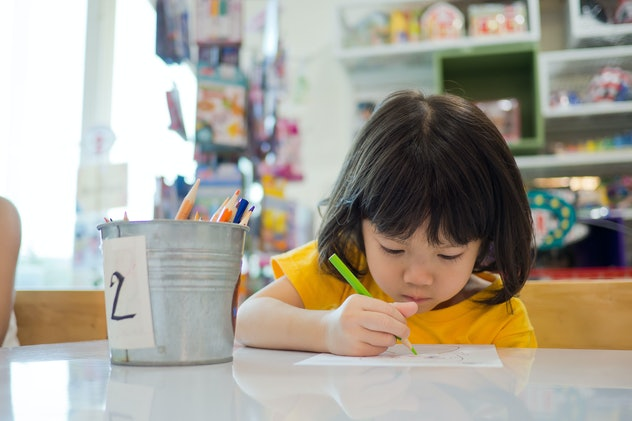 children girl doing homework with mother, kid write paper, family concept, learning time, student, b...