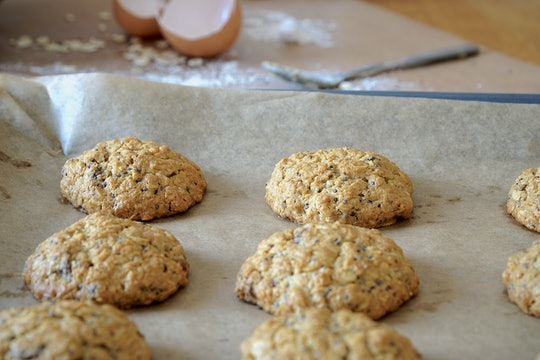 Homemade healthy oatmeal cookies with raisins and chia on the table.