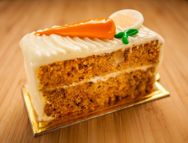 Carrot cake with white chocolate glaze