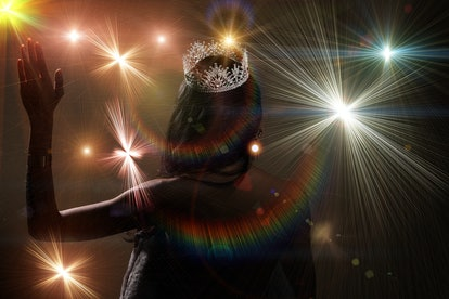 Portrait of Miss Pageant Beauty Contest in open back Evening fur Gown dress sparkle light Diamond Crown, Asian Woman fashion make up black hair style, spotlight stage spot winner turn back side view