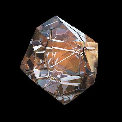 Amazing colorful Diamond Quartz Rainbow Flame Blue Aqua Aura crystal cluster closeup macro isolated ...