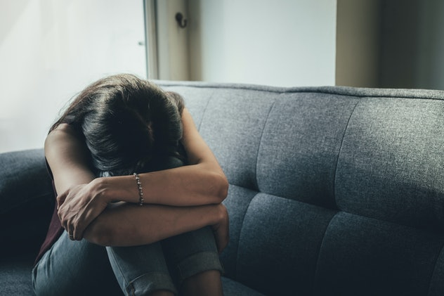 panic attacks young girl sad and fear stressful depressed emotional.crying use hands cover face begging help.stop abusing violence in women,person with health anxiety,people bad feeling down concept