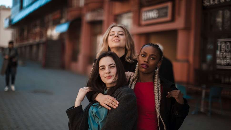 Girls. Happy girls city background. Fashion beauty photo. Party.