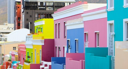 Colorful bright buildings in the historical Bo-Kaap or Malay Quarter district of Cape Town, South Af...