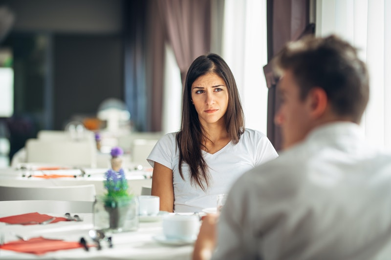 Empathetic emotional woman listening about bad news,problems.Sad woman feeling absent and not intere...