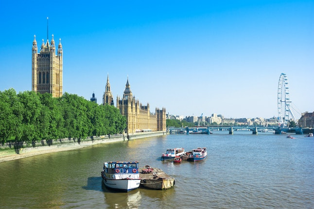 Houses of Parliament with Victoria Tower, Big Ben and Westminster Bridge in the summer, London, UK