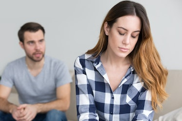 Upset wife tired of jealous selfish husband shouting at home, stressed depressed woman fed up with b...