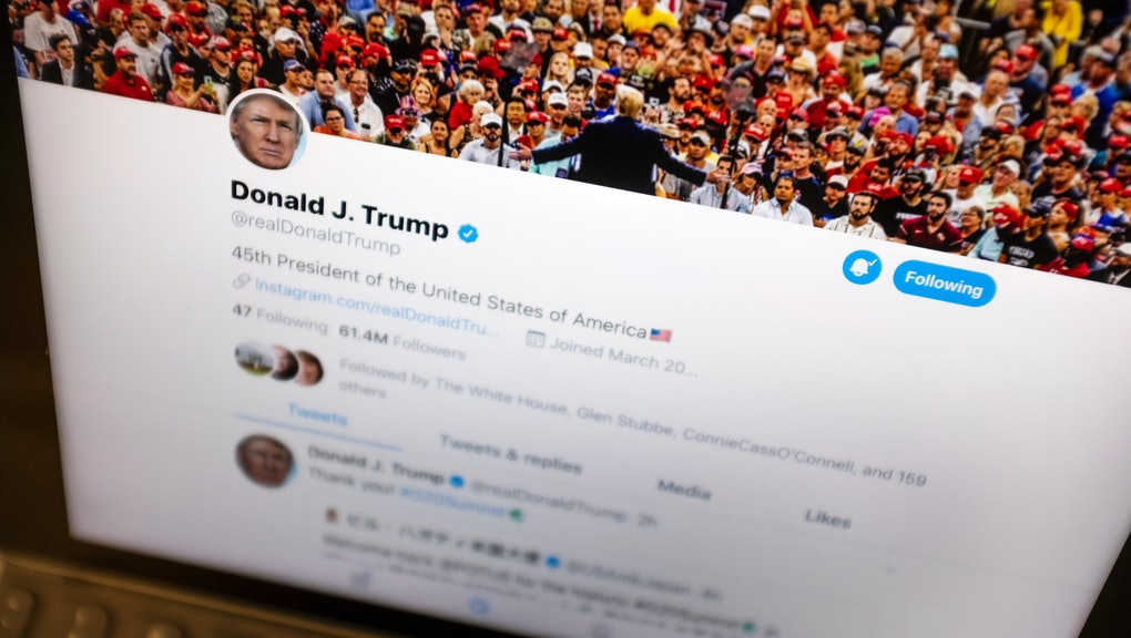 President Donald Trump's Twitter feed is photographed on an Apple iPad in New York, . Trump's next tweet might come with a warning label. Starting Thursday tweets that Twitter deems in the public interest, but which violate the service's rules, will be obscured by a warning explaining the violation. Users will have to tap through the warning to see the underlying message