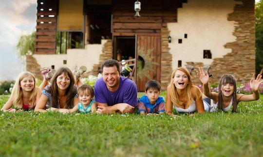 happy big family in the garden