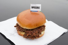 The Impossible Burger, a plant-based burger containing wheat protein, coconut oil and potato protein...