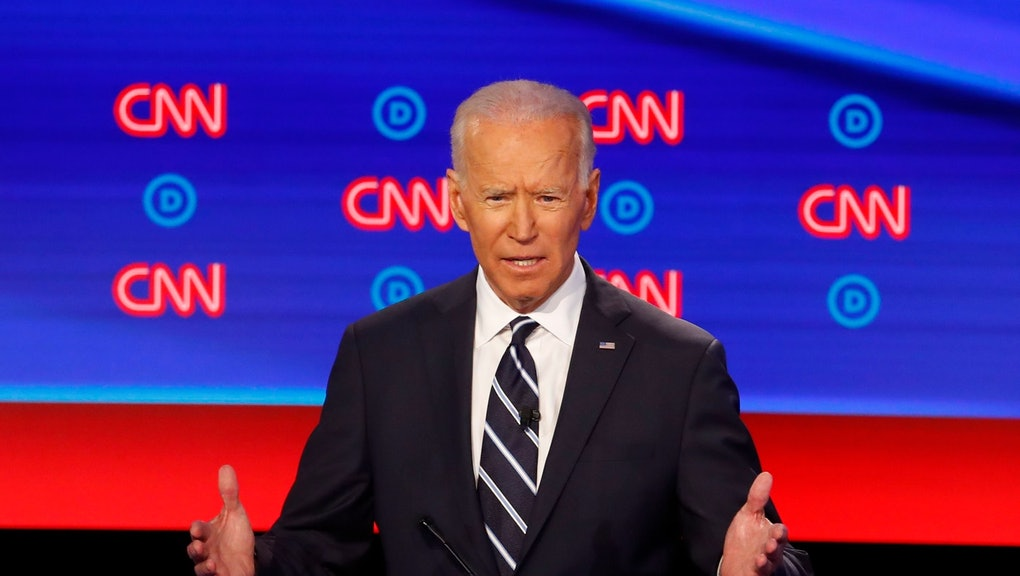 Former Vice President Joe Biden speaks during the second of two Democratic presidential primary debates hosted by CNN, in the Fox Theatre in Detroit