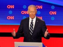 Former Vice President Joe Biden speaks during the second of two Democratic presidential primary deba...