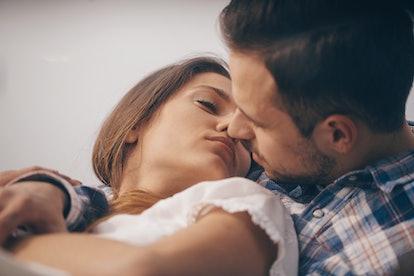 Couple kissing. Kissing couple. Love kiss.