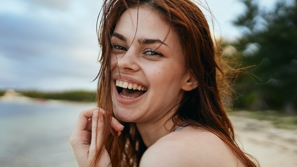 summer woman happy portrait ocean