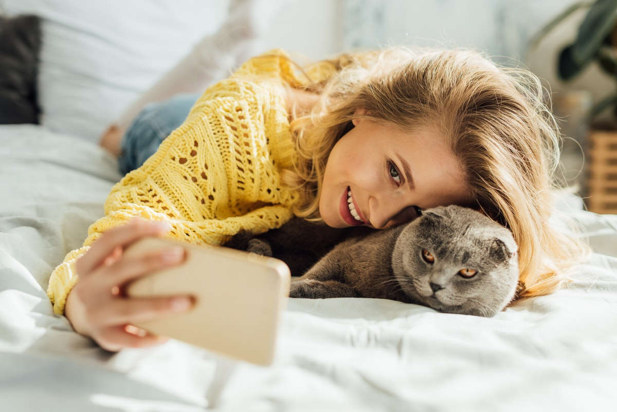 beautiful smiling young woman taking selfie on smartphone while lying in bed with scottish fold cat