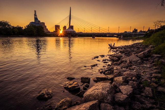 Sunset with view of Winnipeg skyline