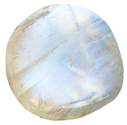 tumbled moonstone (adularia) natural mineral gem stone isolated on white background