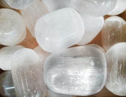 Beautiful silky white selenite stones