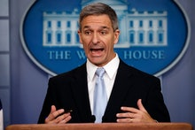 Acting Director of United States Citizenship and Immigration Services Ken Cuccinelli, speaks during ...