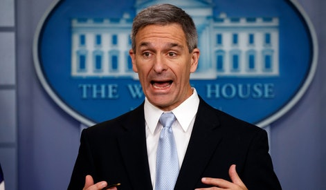 Acting Director of United States Citizenship and Immigration Services Ken Cuccinelli, speaks during a briefing at the White House, in Washington