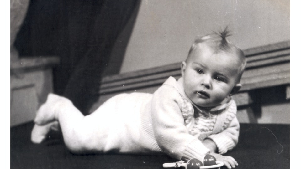 lying baby - photo scan - about 1950