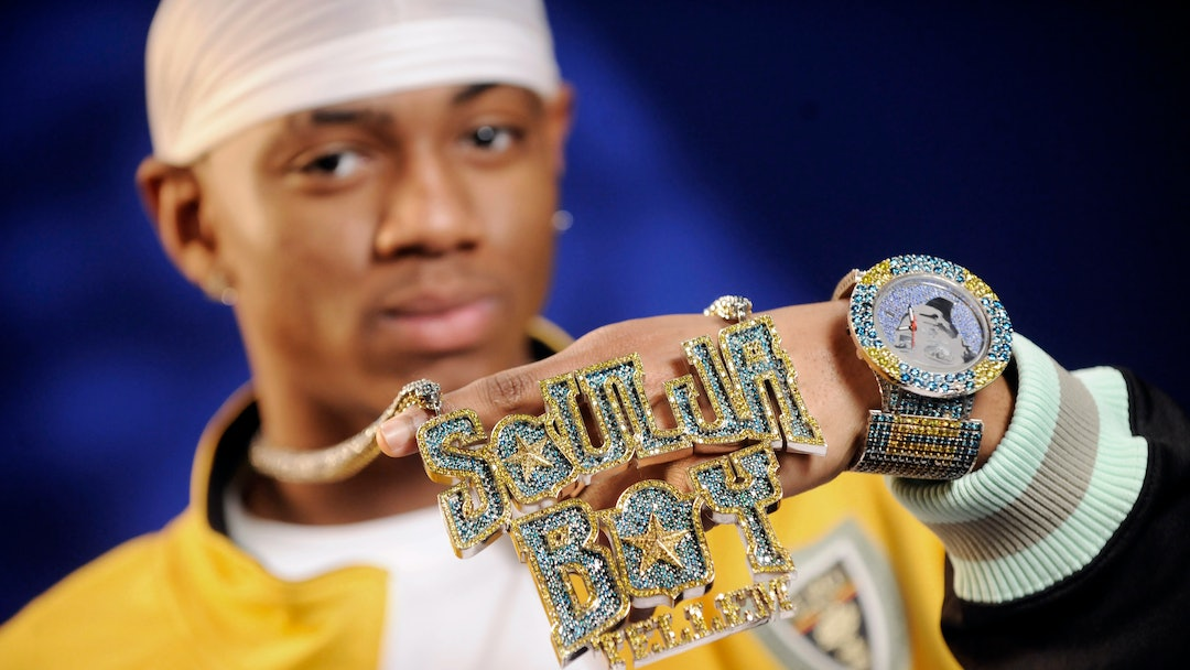Soulja Boy, DeAndre Ramone Way Rapper Soulja Boy shows off his bling during an interview in New York
