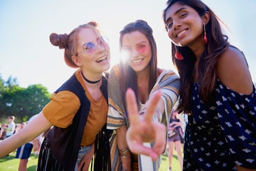 Peace sign and three friends