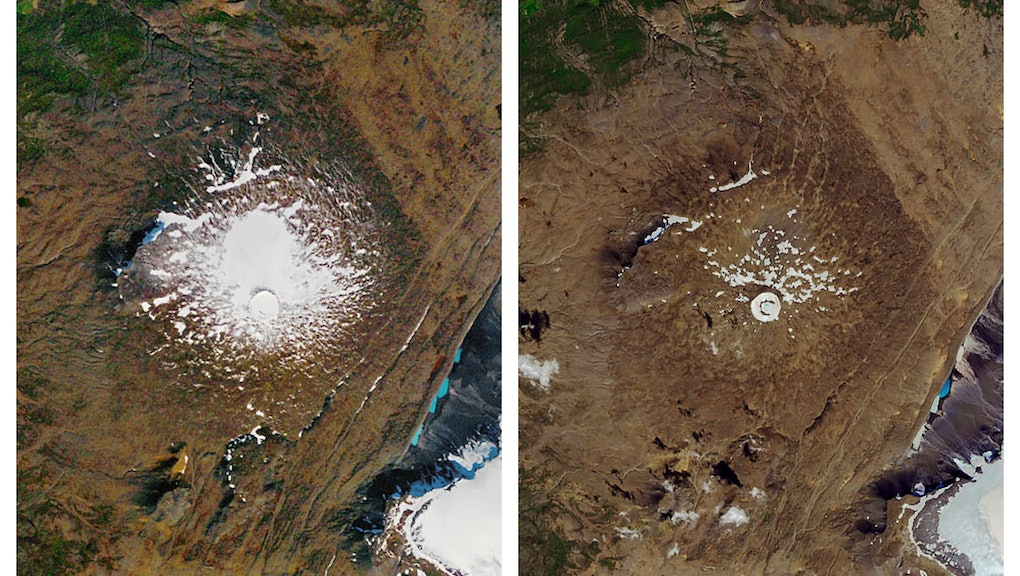 This combination of, left, and Aug. 1, 2019 photos provided by NASA shows the shrinking of the Okjokull glacier on the Ok volcano in west-central Iceland. A geological map from 1901 estimated Okjökull spanned an area of about 38 square kilometers (15 square miles). In 1978, aerial photography showed the glacier was 3 square kilometers. in 2019, less than 1 square kilometer remains