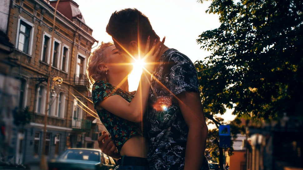 In love couple. Couple in love. Man and woman nature. City background.