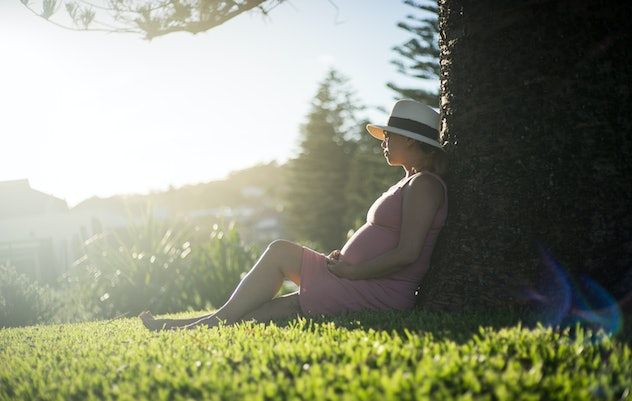 a pregnant woman in pink dress sitting under big tree in warm evening summer