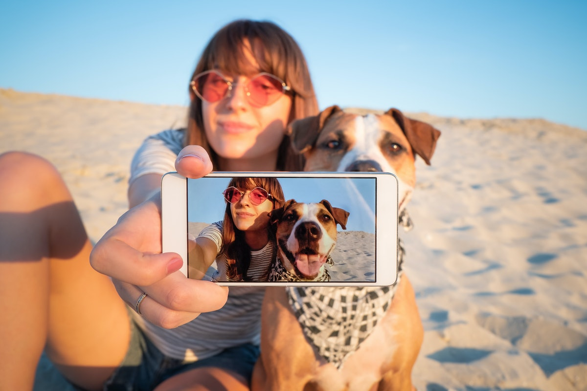 Human taking a selfie with dog. Best friends concept: young female makes self portrait with her pupp...